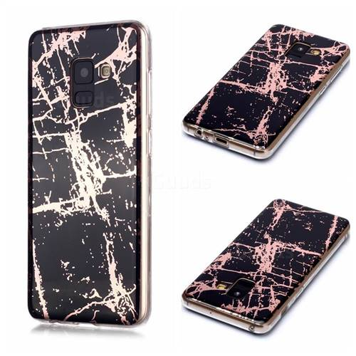 Black Galvanized Rose Gold Marble Phone Back Cover for Samsung Galaxy A8 2018 A530