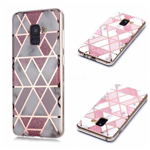 Pink Rhombus Galvanized Rose Gold Marble Phone Back Cover for Samsung Galaxy A8 2018 A530