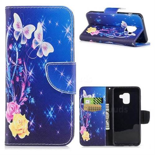 Yellow Flower Butterfly Leather Wallet Case for Samsung Galaxy A5 2018 A530