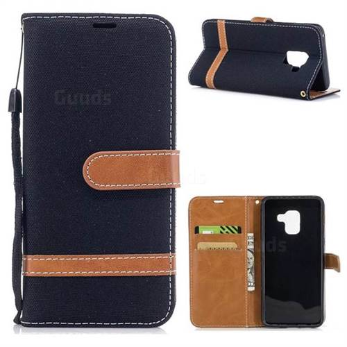 Jeans Cowboy Denim Leather Wallet Case for Samsung Galaxy A5 2018 A530 - Black