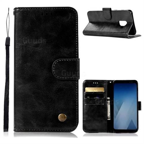 Luxury Retro Leather Wallet Case for Samsung Galaxy A5 2018 A530 - Black