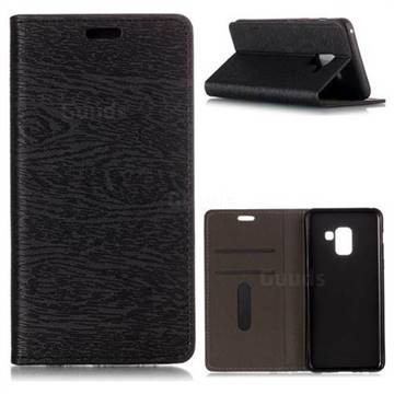 Tree Bark Pattern Automatic suction Leather Wallet Case for Samsung Galaxy A5 2018 A530 - Black