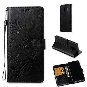 Embossing Butterfly Flower Leather Wallet Case for Samsung Galaxy A8 2018 A530 - Black