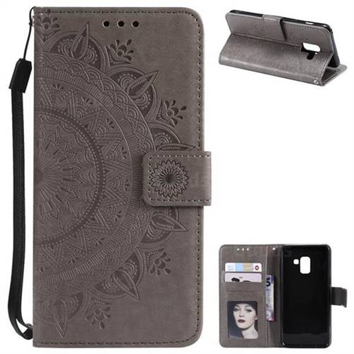 Intricate Embossing Datura Leather Wallet Case for Samsung Galaxy A8 2018 A530 - Gray