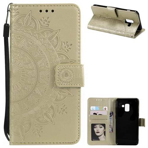 Intricate Embossing Datura Leather Wallet Case for Samsung Galaxy A8 2018 A530 - Golden