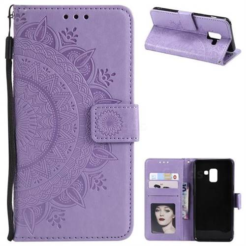 Intricate Embossing Datura Leather Wallet Case for Samsung Galaxy A8 2018 A530 - Purple