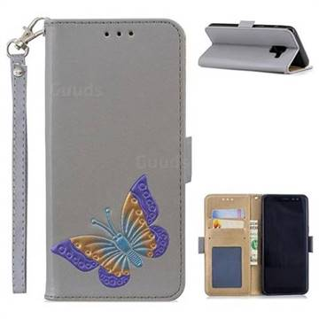 Imprint Embossing Butterfly Leather Wallet Case for Samsung Galaxy A8 2018 A530 - Grey