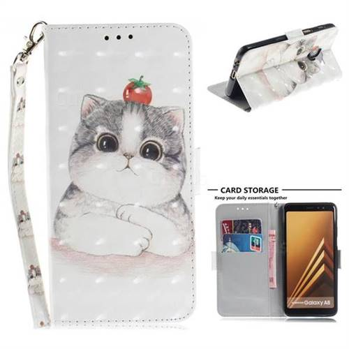 Cute Tomato Cat 3D Painted Leather Wallet Phone Case for Samsung Galaxy A8 2018 A530