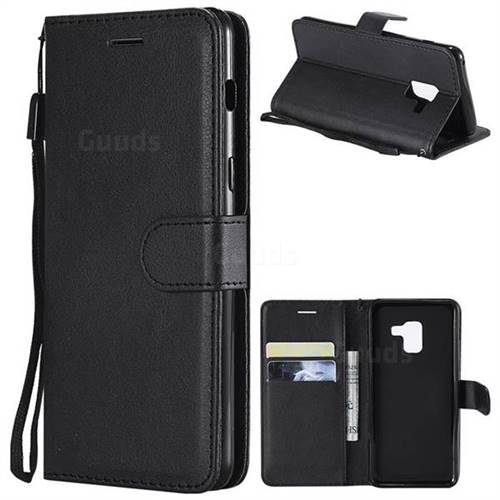 Retro Greek Classic Smooth PU Leather Wallet Phone Case for Samsung Galaxy A8 2018 A530 - Black