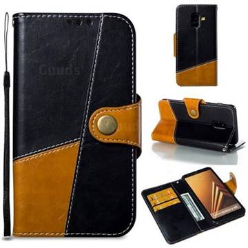 Retro Magnetic Stitching Wallet Flip Cover for Samsung Galaxy A8 2018 A530 - Black