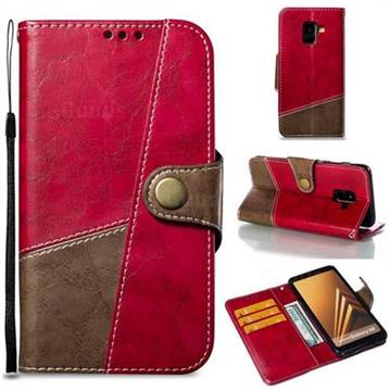 Retro Magnetic Stitching Wallet Flip Cover for Samsung Galaxy A8 2018 A530 - Rose Red