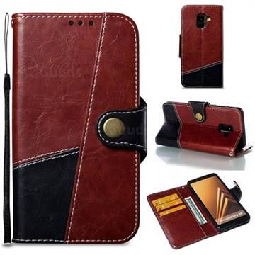 Retro Magnetic Stitching Wallet Flip Cover for Samsung Galaxy A8 2018 A530 - Dark Red
