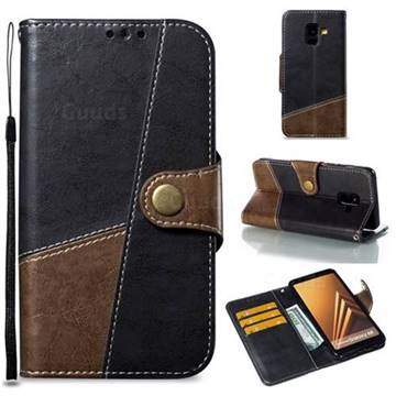 Retro Magnetic Stitching Wallet Flip Cover for Samsung Galaxy A8 2018 A530 - Dark Gray