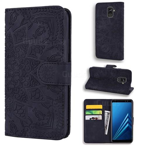 Retro Embossing Mandala Flower Leather Wallet Case for Samsung Galaxy A8 2018 A530 - Black