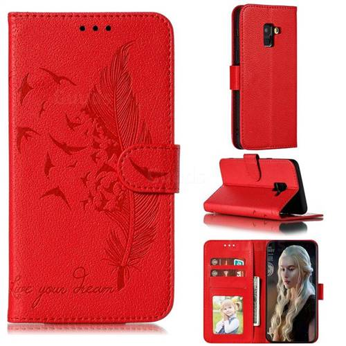 Intricate Embossing Lychee Feather Bird Leather Wallet Case for Samsung Galaxy A8 2018 A530 - Red