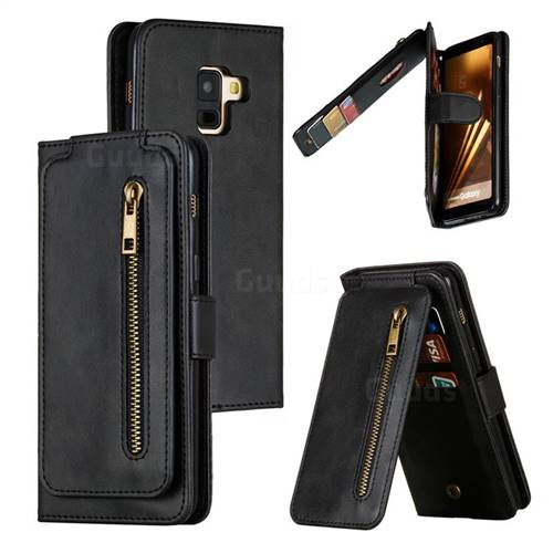 Multifunction 9 Cards Leather Zipper Wallet Phone Case for Samsung Galaxy A8 2018 A530 - Black