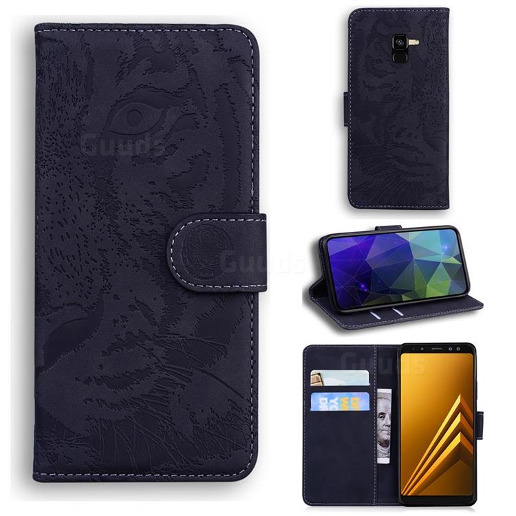 Intricate Embossing Tiger Face Leather Wallet Case for Samsung Galaxy A8 2018 A530 - Black