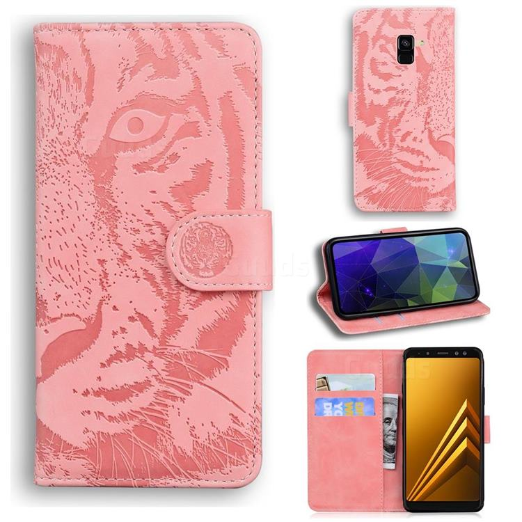 Intricate Embossing Tiger Face Leather Wallet Case for Samsung Galaxy A8 2018 A530 - Pink