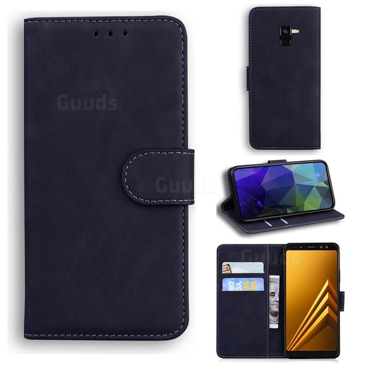 Retro Classic Skin Feel Leather Wallet Phone Case for Samsung Galaxy A8 2018 A530 - Black