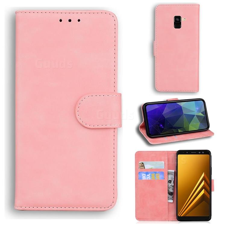 Retro Classic Skin Feel Leather Wallet Phone Case for Samsung Galaxy A8 2018 A530 - Pink