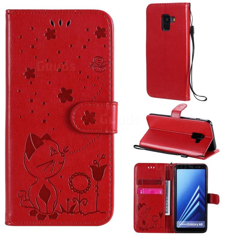 Embossing Bee and Cat Leather Wallet Case for Samsung Galaxy A8 2018 A530 - Red