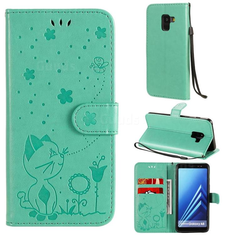 Embossing Bee and Cat Leather Wallet Case for Samsung Galaxy A8 2018 A530 - Green