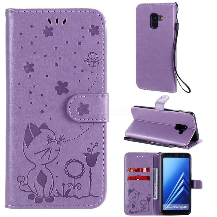 Embossing Bee and Cat Leather Wallet Case for Samsung Galaxy A8 2018 A530 - Purple