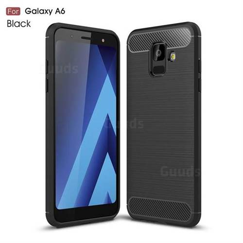 Luxury Carbon Fiber Brushed Wire Drawing Silicone TPU Back Cover for Samsung Galaxy A6 (2018) - Black