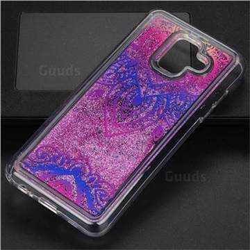 Blue and White Glassy Glitter Quicksand Dynamic Liquid Soft Phone Case for Samsung Galaxy A6 (2018)