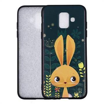 Cute Rabbit 3D Embossed Relief Black Soft Back Cover for Samsung Galaxy A6 (2018)