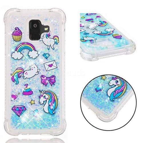 Fashion Unicorn Dynamic Liquid Glitter Sand Quicksand Star TPU Case for Samsung Galaxy A6 (2018)