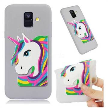Rainbow Unicorn Soft 3D Silicone Case for Samsung Galaxy A6 (2018) - Translucent White