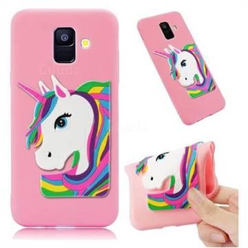 Rainbow Unicorn Soft 3D Silicone Case for Samsung Galaxy A6 (2018) - Pink