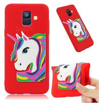 Rainbow Unicorn Soft 3D Silicone Case for Samsung Galaxy A6 (2018) - Red