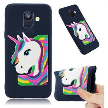 Rainbow Unicorn Soft 3D Silicone Case for Samsung Galaxy A6 (2018) - Navy
