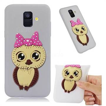 Bowknot Girl Owl Soft 3D Silicone Case for Samsung Galaxy A6 (2018) - Translucent White
