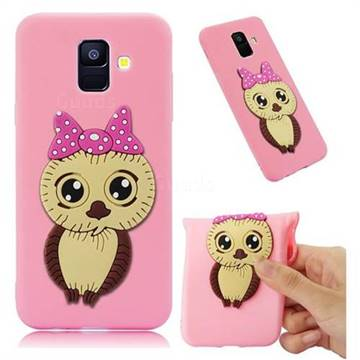 Bowknot Girl Owl Soft 3D Silicone Case for Samsung Galaxy A6 (2018) - Pink