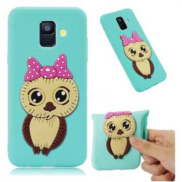 Bowknot Girl Owl Soft 3D Silicone Case for Samsung Galaxy A6 (2018) - Sky Blue
