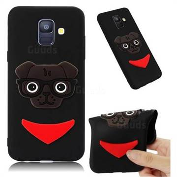 Glasses Dog Soft 3D Silicone Case for Samsung Galaxy A6 (2018) - Black