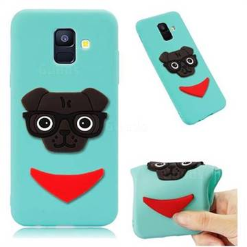 Glasses Dog Soft 3D Silicone Case for Samsung Galaxy A6 (2018) - Sky Blue