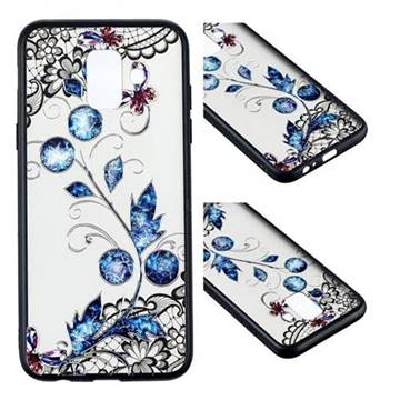 Butterfly Lace Diamond Flower Soft TPU Back Cover for Samsung Galaxy A6 (2018)