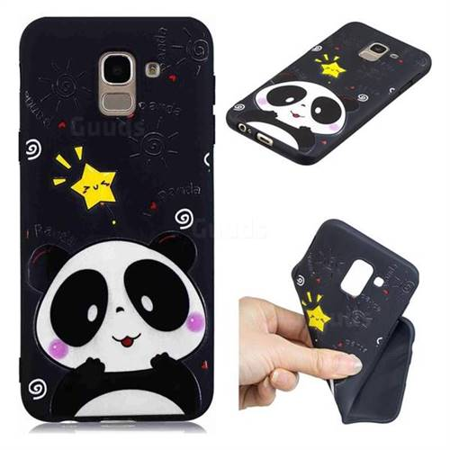 Cute Bear 3D Embossed Relief Black TPU Cell Phone Back Cover for Samsung Galaxy A6 (2018)
