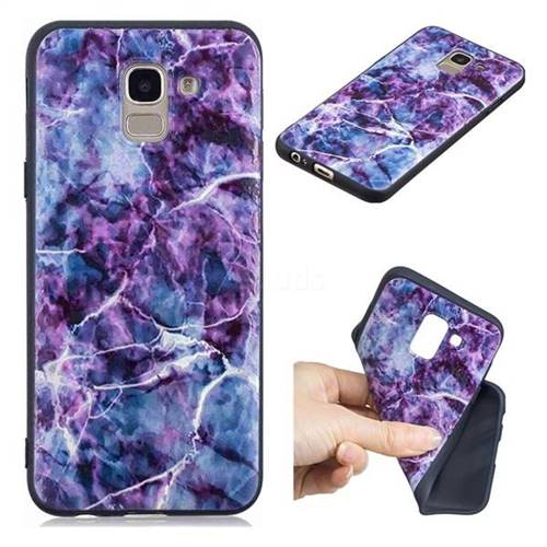 Marble 3D Embossed Relief Black TPU Cell Phone Back Cover for Samsung Galaxy A6 (2018)