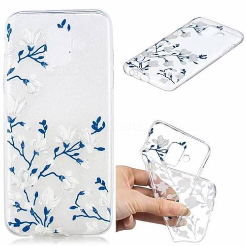Magnolia Flower Clear Varnish Soft Phone Back Cover for Samsung Galaxy A6 (2018)