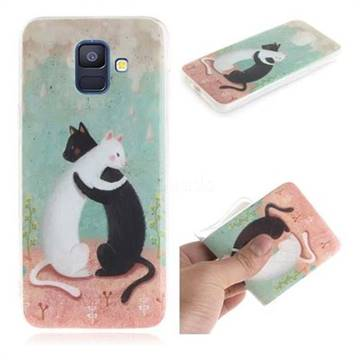 Black and White Cat IMD Soft TPU Cell Phone Back Cover for Samsung Galaxy A6 (2018)