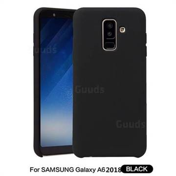 Howmak Slim Liquid Silicone Rubber Shockproof Phone Case Cover for Samsung Galaxy A6 (2018) - Black