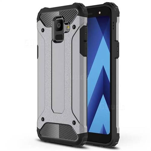 King Kong Armor Premium Shockproof Dual Layer Rugged Hard Cover for Samsung Galaxy A6 (2018) - Silver Grey