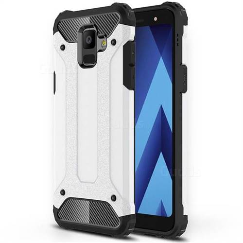 King Kong Armor Premium Shockproof Dual Layer Rugged Hard Cover for Samsung Galaxy A6 (2018) - White