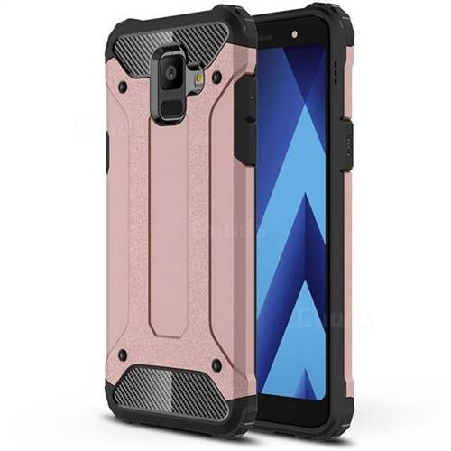 King Kong Armor Premium Shockproof Dual Layer Rugged Hard Cover for Samsung Galaxy A6 (2018) - Rose Gold
