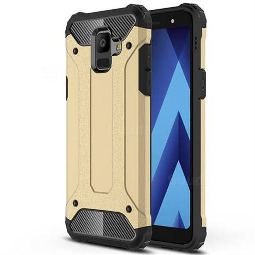 King Kong Armor Premium Shockproof Dual Layer Rugged Hard Cover for Samsung Galaxy A6 (2018) - Champagne Gold